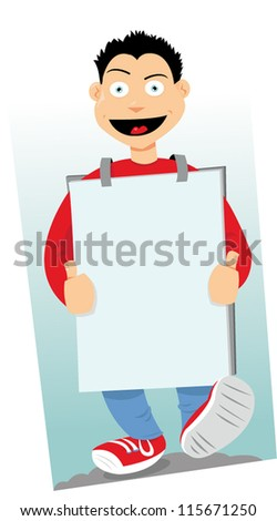 a vector cartoon representing a sandwich-man walking and wearing a sign with copy space