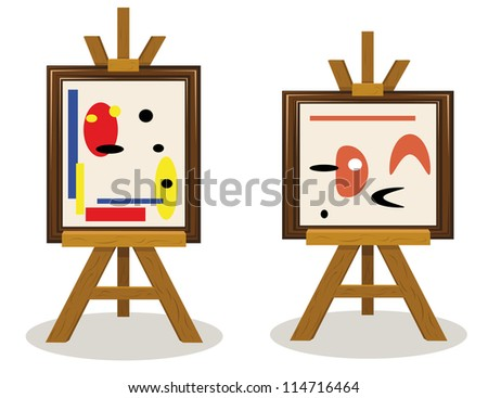 a vector cartoon representing two modern art pieces