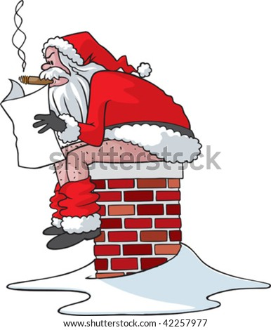 A Vector cartoon Santa sitting on the chimney of a bad persons house.