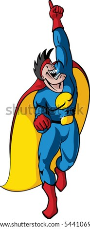 A vector cartoon super hero.