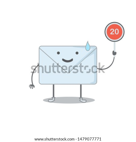 a vector, character of mailman, got 20 inbox mail, starting to worry, can be used for icons, mobile apps, web apps