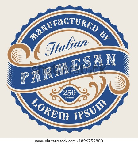 A vector cheese label in vintage style, all elements in the design are in the separate group and editable.
