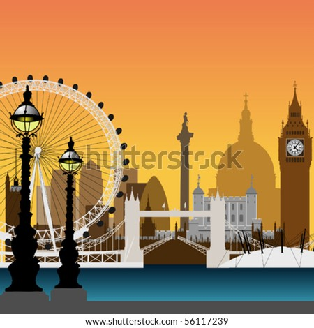 A Vector Cityscape of London - stock vector