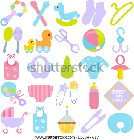 A Vector Collection Of Accessories For Mom And Baby In Pastel ...