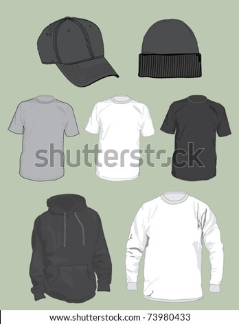 A vector collection of blank hats and shirts to be used in clothing design mockups.