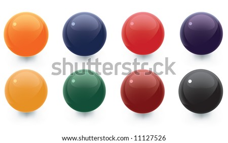 A vector collection of different color spheres to be used as templates for icons, buttons, and design elements.