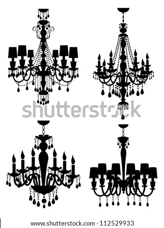 A vector collection of elegant chandeliers