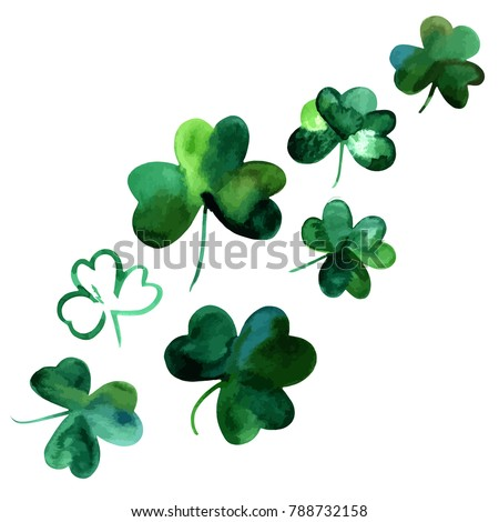 A vector collection of hand drawn watercolour shamrocks, isolated on a white background, design elements for St Patrick's Day cards