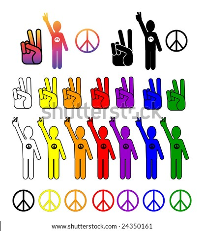 A vector collection of peace symbols in every color.