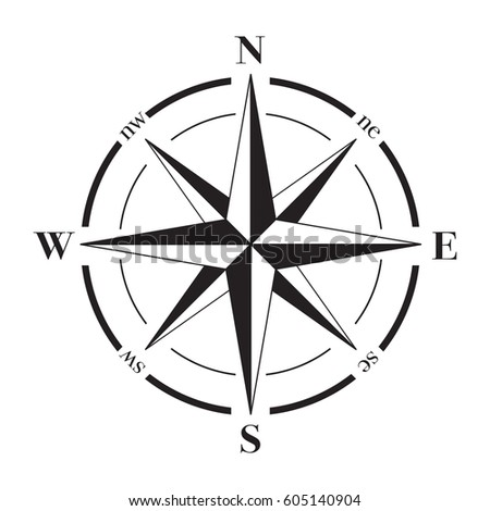 A vector compass rose with North, South, East and West indicated.