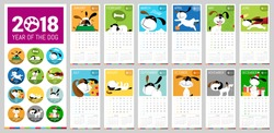 A vector 2018 complete Calendar illustrated with cute cartoon dogs with brilliant colors, with reference to the 2018 year of the dog in Chinese Zodiac.