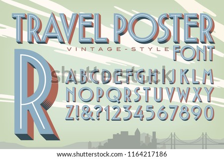 A vector 3d alphabet in the style of vintage travel posters
