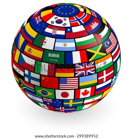 Royalty free flags globe vector sphere with flags 119419429 stock a vector 3d globe composed by the flags of the most important countries 299389952 freerunsca Image collections