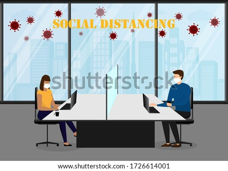 A vector design concept of Social Distancing during Coronavirus (Covid-19) outbreak in the office. Isolated working seats in the office illustration.