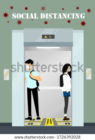 A vector design concept of Social Distancing in the elevator during Coronavirus (Covid-19) pandemic. People keep distance in the elevator illustration.