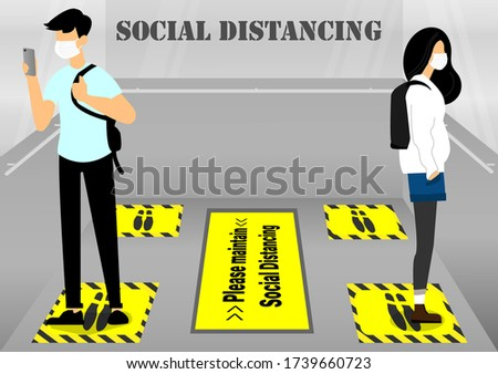 A vector design concept of Social Distancing signs in the elevator during Coronavirus (Covid-19) pandemic.  People maintain social distancing in the elevator during the Coronavirus outbreak.