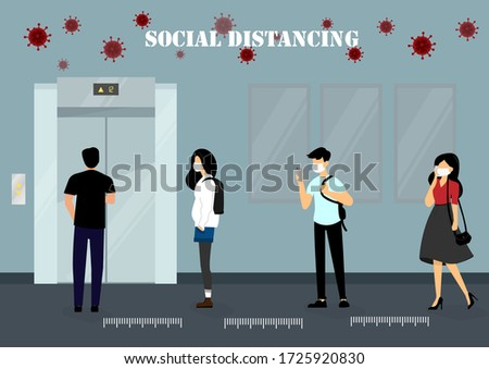 A vector design concept of Social Distancing when waiting for the elevator during Coronavirus (Covid-19) pandemic. People maintain social distancing in the line illustration.