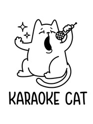 A Vector Drawing Of A Cat Singing In A Karaoke Holding A Microphone With Stars Around