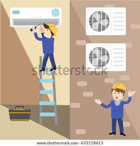 A vector flat picture specialists work with equipment. Installation or repair of air conditioner