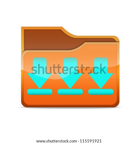 a vector folder icon with download sign inside