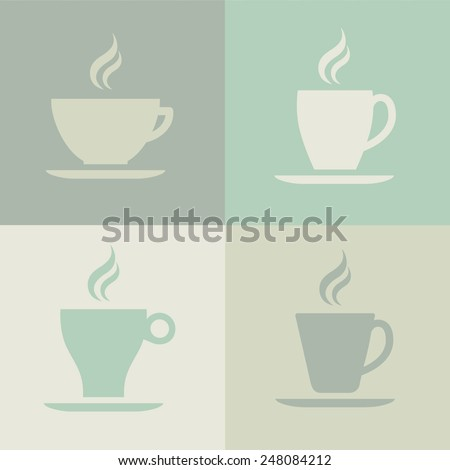 A vector graphic of coffee cup icons.