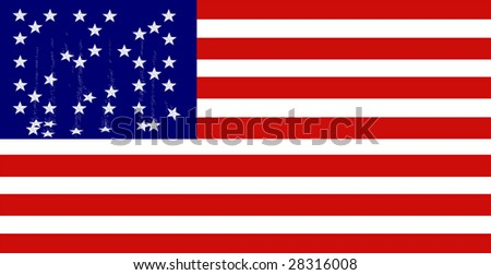 A vector graphic of the American Flag with falling stars.