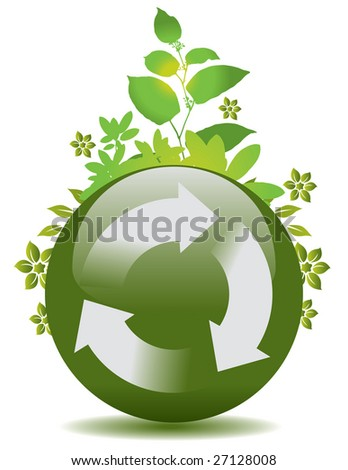 A vector green globe with a recycle symbol and flora
