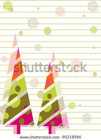 A vector greeting card with colorful tree,snow flake,floral,line for Christmas, New Year & other occasions.
