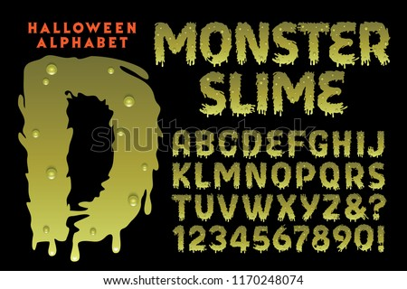 A vector Halloween-themed font called Monster Slime. Perfect for anything creepy, grotesque, or scary, but with a humorous vibe. Halloween parties, haunted houses, etc.