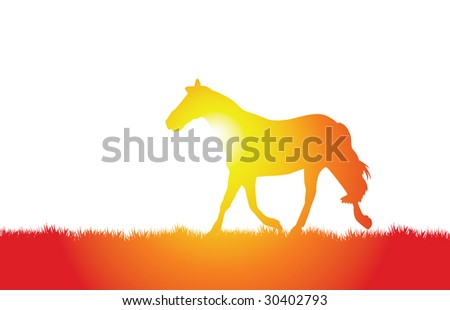 a vector horse walking on the grass