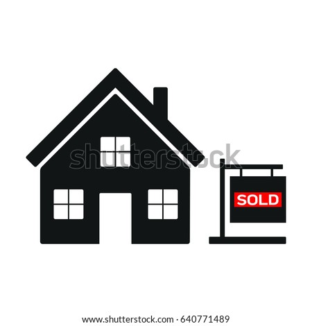 A vector icon of a house that has been sold.