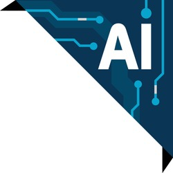A vector icon to represent AI, a technical advancement in human intelligence technology. An AI corner to wrap around any type of square shape that involves Artificial Intelligence.