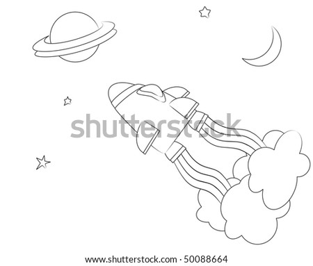 A vector illusration of a spaceship in space. Cartoon style children's activity sheet.