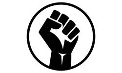 A vector illustration artwork of black hand rise.