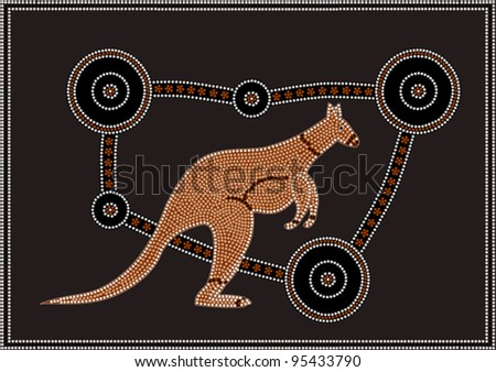 A vector illustration based on aboriginal style of dot painting depicting Kangaroo.