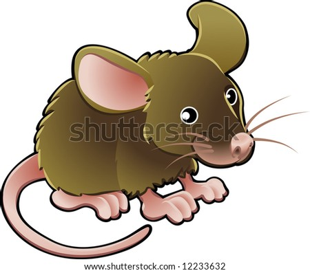 A vector illustration cute little brown mouse