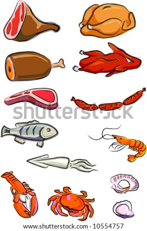 a vector illustration for a variety of meats, chicken, duck, pork, beef, lamp chop, hot-dog, fish, squire, lobster, crab, prawn, oyster, scallop, - stock vector