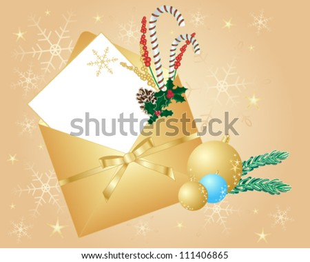 a vector illustration in eps 10 format of a beautiful golden christmas envelope decorated with candy canes holly pine cones baubles and a golden ribbon on a snowflake glitter background