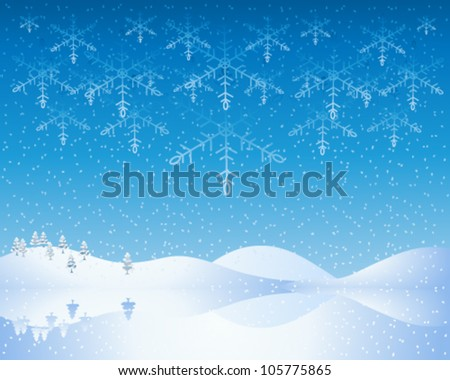 a vector illustration in eps 10 format of a cold winter christmas scene with snowy hills frozen lake and deep blue evening sky with abstract snowflakes