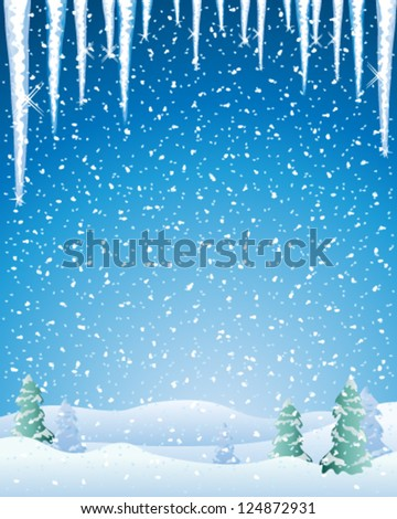 a vector illustration in eps 10 format of a cold winter landscape with snow capped fir trees icicles and a night sky