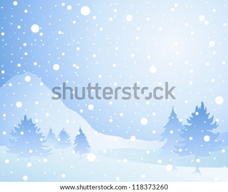 a vector illustration in eps 10 format of a cold winter seasonal christmas landscape with misty fir trees in a snow shower under an icy blue sky