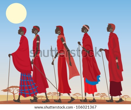 a vector illustration in eps 10 format of a group of colorful masai men dressed in traditional red robes and jewelery walking through a dusty african landscape under a hot yellow sun