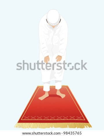 a vector illustration in eps 10 format of a muslim man dressed in traditional white clothing with bowed head standing on a prayer mat with a light blue background