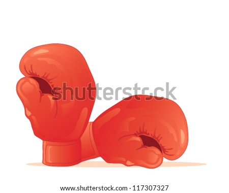 a vector illustration in eps 10 format of a pair of traditional red boxing gloves isolated on a white background