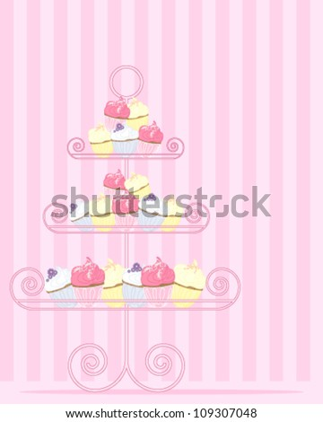 a vector illustration in eps 10 format of a stylized cake stand with a variety of cupcakes in pink yellow and blue on a candy stripe background