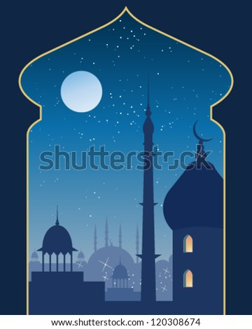 a vector illustration in eps 10 format of an islamic urban scene with mosque and asian architecture on a moonlit night viewed through a decorative archway