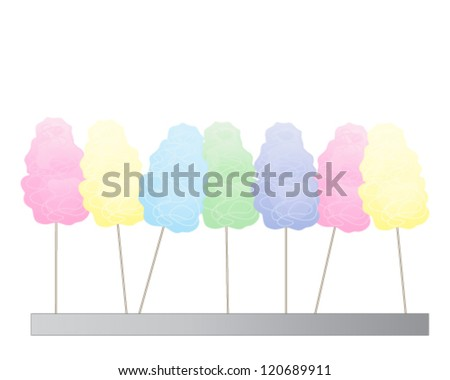 a vector illustration in eps 10 format of colorful cotton candy in a row isolated on a white background