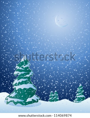 a vector illustration in eps 10 format of fir trees in a cold winter landscape with moon and snowflakes falling in a dark night sky