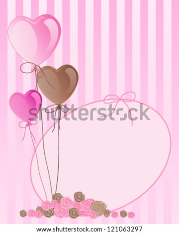 a vector illustration in eps 10 format of pink and brown valentine balloons with greeting card and a cluster of roses on a candy stripe background