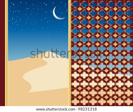 a vector illustration in eps 10 format of sand dunes under a starry night sky viewed through a decorative gilded window with a crescent moon